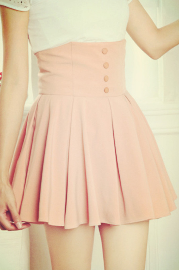 skirt pink pastel pleated