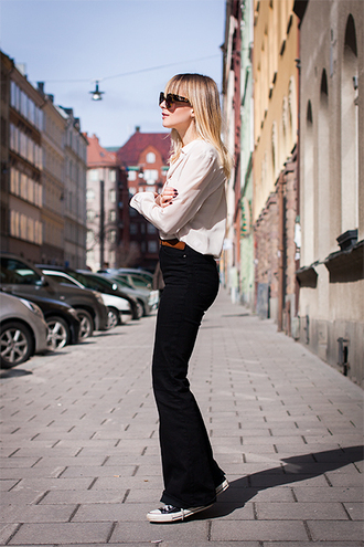 chaloth blogger blouse white blouse flare pants
