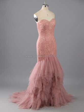 dress pink strapless elegant prom formal dress tulle dress gown dressofgirl