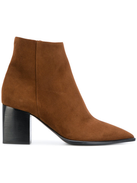 David Beauciel women ankle boots leather suede brown shoes