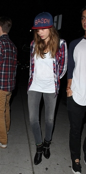 shirt,t-shirt,cara delevingne,ankle boots,flannel shirt,shoes,hat,model off-duty,blouse