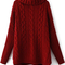 Red high neck long sleeve cable knit sweater -shein(sheinside)