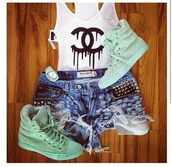 shorts,shirt,shoes,chanel,levi's,tank top,drip,dripping,dripping lettering,fashion,style,sneakers,tenues,chanel drop logo shorts,jewels,mint,chanel inspired,pastel,mint green shoes cute want love,t-shirt,cut off shorts,ripped shorts,high top sneakers,cute,best summer time outfit,swag,green,sweet,cool,skirt,chanel t-shirt,black and white,white crop tops,white coco chanel tank,white tank top,chanel tank,blouse,coach,black,white,lovely pepa,channel shirt,white t-shirt