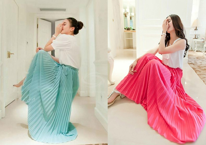Ladylike candy color chiffon pleated skirt for women (rose,one size)