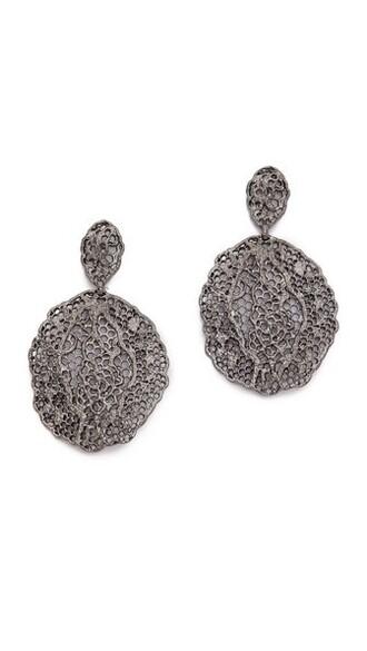 earrings lace silver black jewels