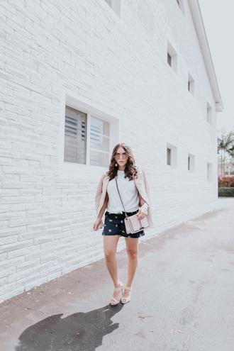 shorts short shorts top white top bag pink bag jacket sandals sunglasses