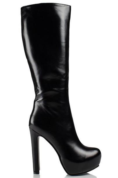 boots high heels high heels boots pu boots pu black boots knee high knee high boots shoes