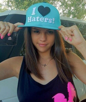 hat,haters,selena gomez,blue,beautiful,brunette