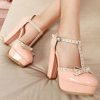 YESSTYLE: Mancienne- T-Strap Bow-Accent High-Heel Sandals - Free International Shipping on orders over $150