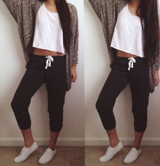 leggings shoes cardigan