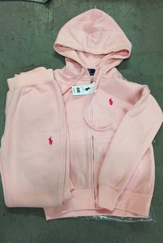 sweater zip hoodie ralph lauren polo ralph lauren sweatsuit light pink sweatpants