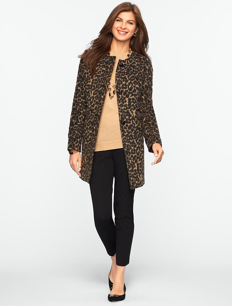 Talbots - Brushed Animal-Jacquard Long Jacket