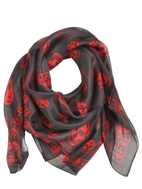 Alexander Mcqueen skull chiffon classic scarf print silk grey red