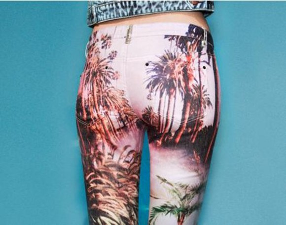 summer print pants red nude black sun sexy cute palm trees