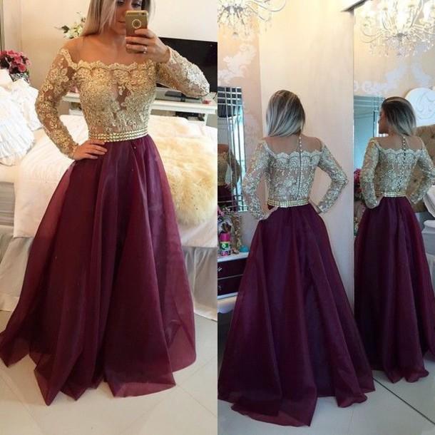 dress burgundy gold sheer clothes prom dress 2016 long prom dress long sleeves prom dress prom dress tulle skirt tulle prom long sleeve romper
