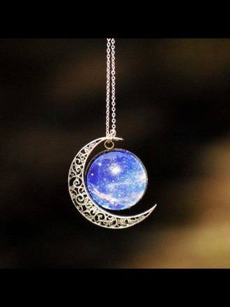jewels moon galaxy print cute grunge tumblr necklace silver silver chain fashian moon necklace