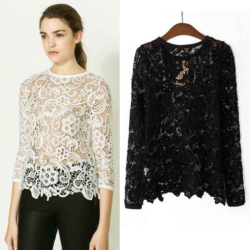 2014 new women fashion openwork crochet lace long sleeve shirt blouse Tops TS0613-in Blouses & Shirts from Apparel & Accessories on Aliexpress.com