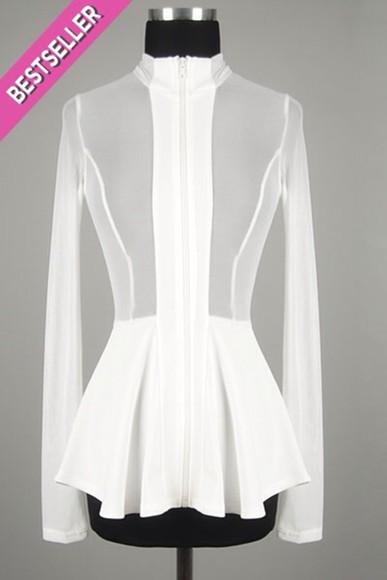 long sleeves top blouse white mesh fashion