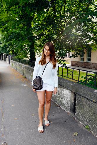 blogger shirt shorts shoes bag white louis vuitton bag slide shoes