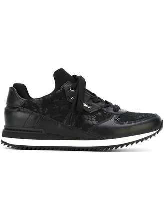 women sneakers lace leather black shoes