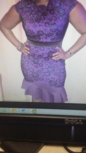 dress,purple peplum hem dress
