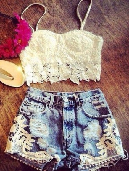 shorts cute lace lace shorts summer outfits lace top crop tops bustier denim shorts