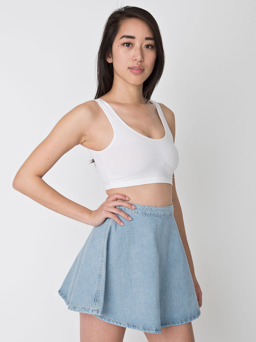 denim circle skirt american apparel