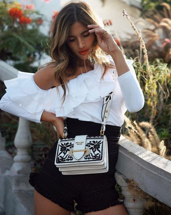 shorts blouse top black and white High waisted shorts rocky barnes blogger instagram purse