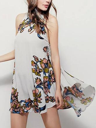 dress summer girly print floral summer outfits white dress floral dress halter top mini dress