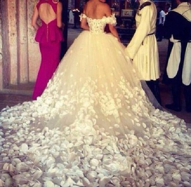 dress wedding dress wedding clothes bridal gown wedding haute couture flowers floral dress princess wedding dresses