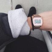 jewels,watch,gold,silver,time,rose gold watch,casio watch,Casio,rose gold