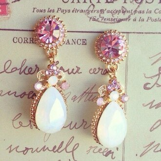 jewels earrings jewelry fashion pink and white pearl cute girly