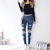 jeans,denim,top,cropped,crop tops,black,blue,shoes,pants,shirt,ripped jeans,black crop top,off the shoulder,off the shoulder top,long sleeves,knitwear,knitted crop top