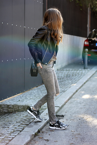 fashion and style blogger sneakers grey jeans leather jacket