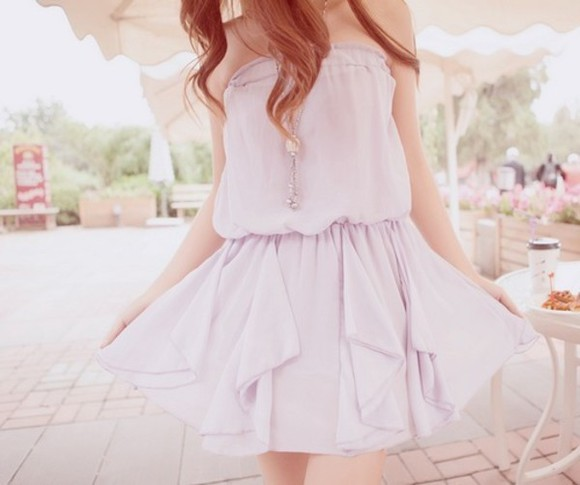 dress strapless lavender