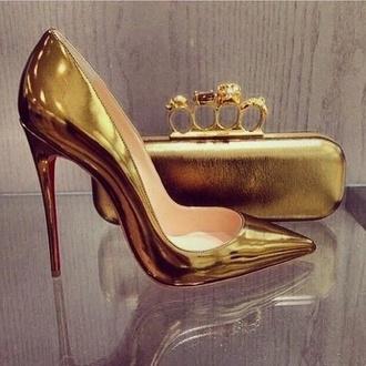 shoes gold pumps stilettos metallic shoes