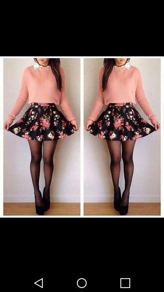 skirt floral skirt floral pink pink sweater pink jumper