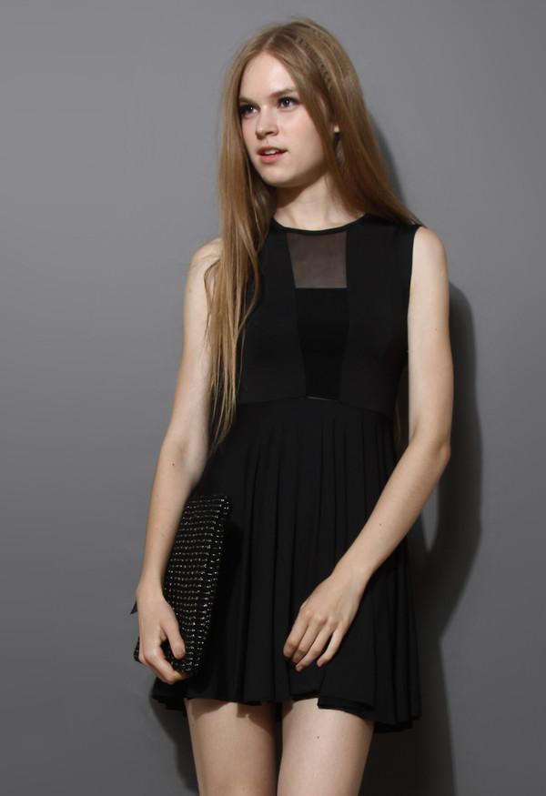 dress pleated party black mesh