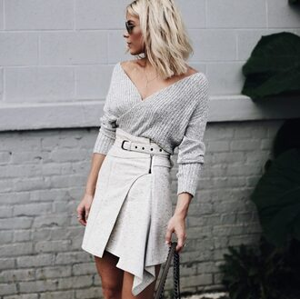 skirt tumblr mini skirt grey skirt asymmetrical asymmetric shirt sweater grey sweater