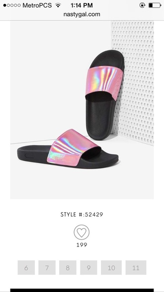 shoes pink metallic slide shoes iridescent