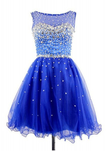 Dress: sequin prom dress, blue short dress, blue prom gown, prom ...