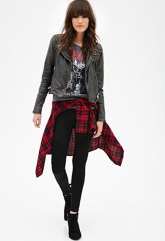 jacket leather jacket spiked leather jacket black leather jacket plaid shirt t-shirt style chicago band tee shirt vintage band shirt versace leather jacket shirt