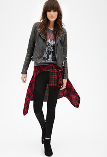 Leather Jacket With Plaid Shirt Jacketin