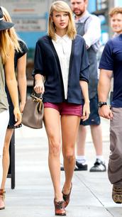 shorts,taylor swift,jacket,blouse,bag,shoes