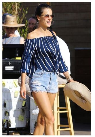 blouse off the shoulder shorts alessandra ambrosio sunglasses stripes striped top summer outfits model off-duty denim shorts