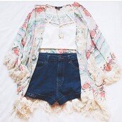 floral kimono,boho,hippie,festival outfit,cute,bralette,shirt,blouse,cardigan,kimono,fashion,flower crown,tank top,shorts,jeans short highwaisted,roses,white,pink,blue,jeans,crop tops,summer outfits