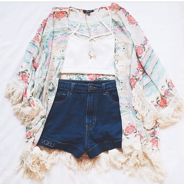 floral kimono boho hippie festival outfit cute bralette shirt blouse cardigan kimono fashion flower crown tank top shorts jeans short highwaisted roses white pink blue jeans crop tops summer outfits