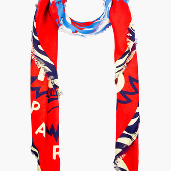 red scarf print blue women tiger print scarf red