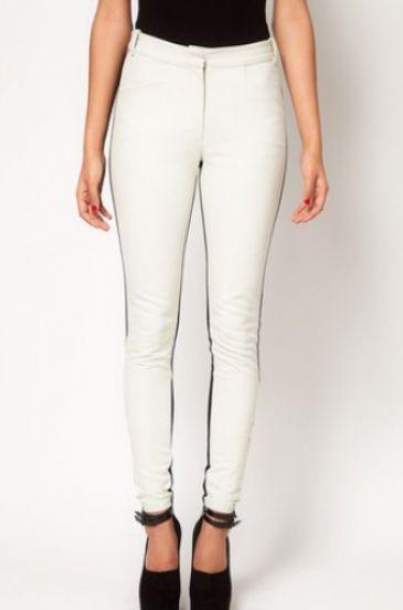 Black White Skinny Mid Waist Elasic Pant - Sheinside.com