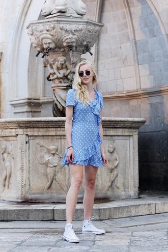dress tumblr polka dots blue dress wrap dress ruffle dress mini dress summer dress sneakers high top sneakers white sneakers converse white converse high top converse shoes